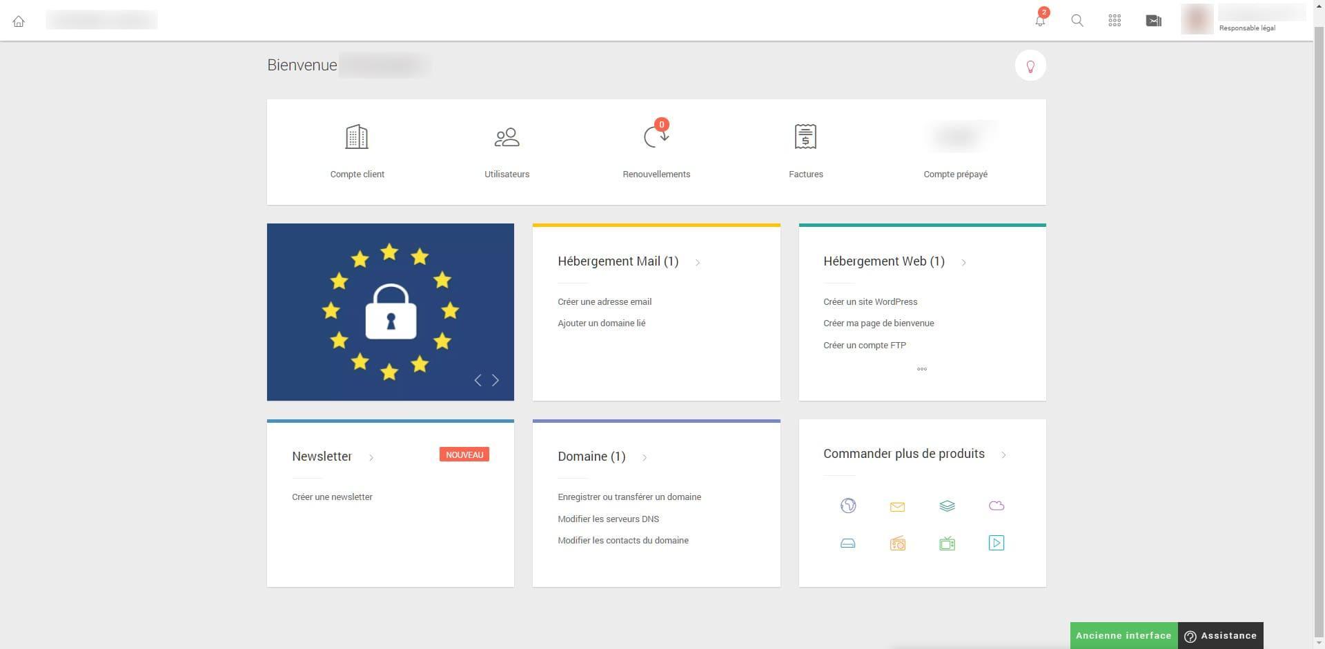 After-Infomaniak interface page de bienvenue