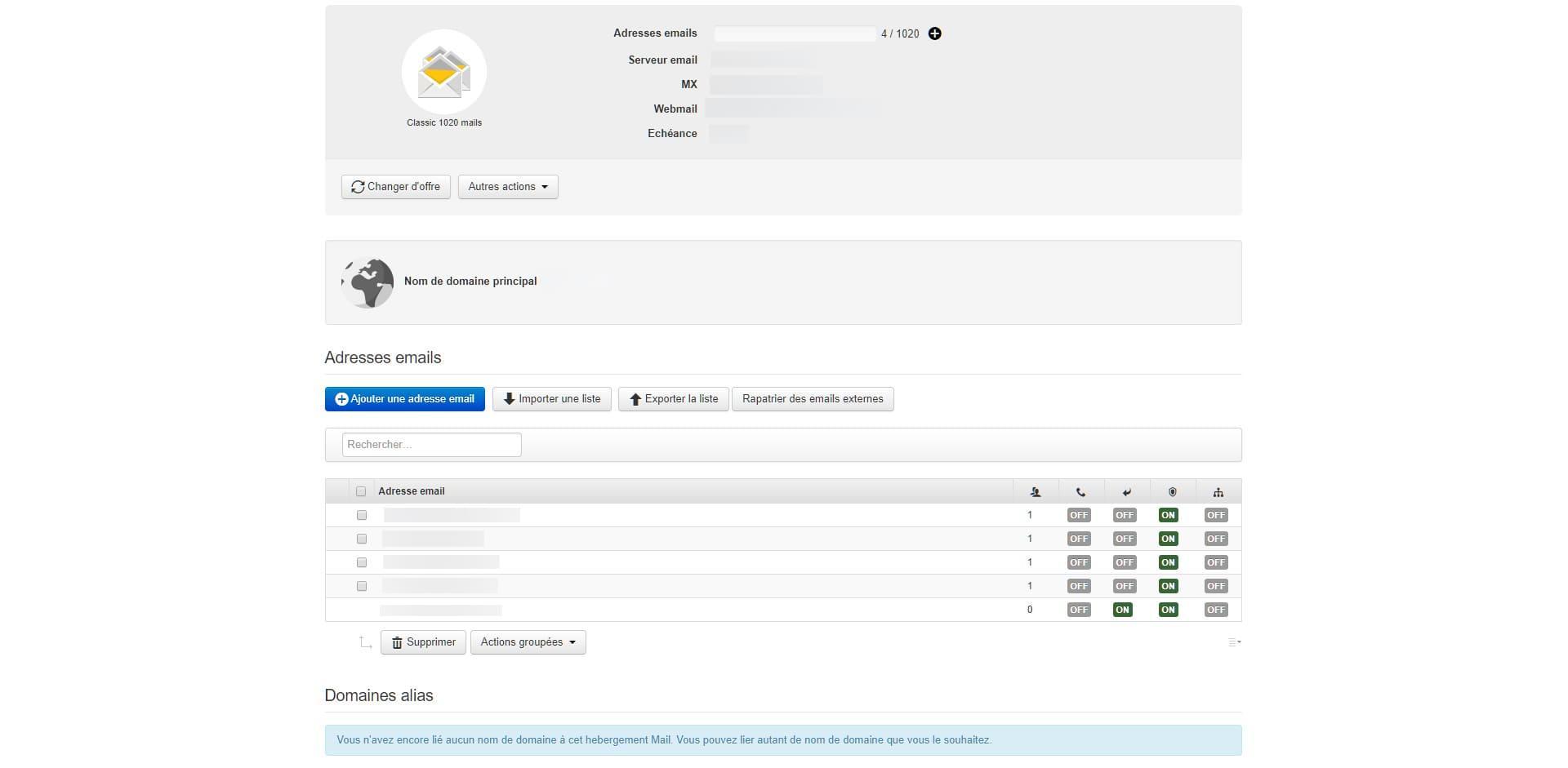 Before-Infomaniak interface beta Mail