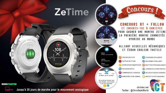 Concours Twitter pour gagner une montre connectée hybride Zetime