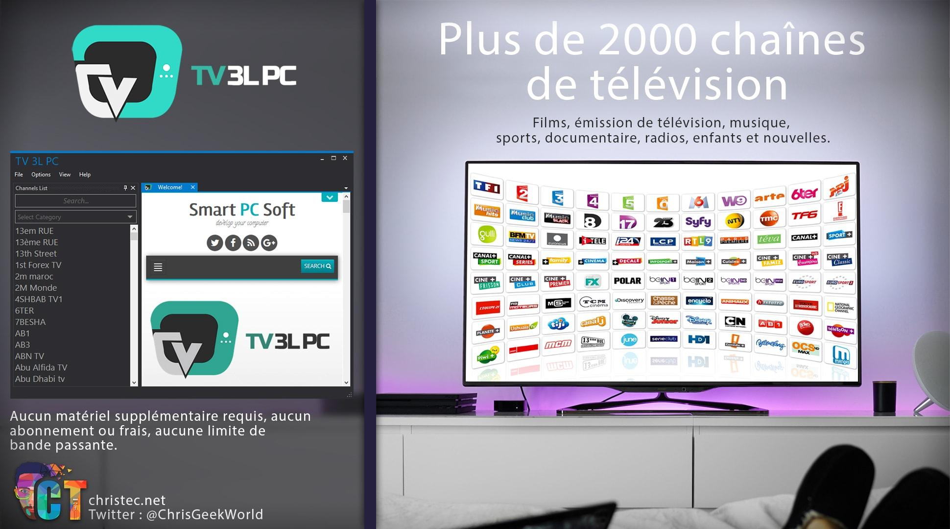 Bonjour à tous, dans cet article je vous présente un logiciel capable  d afficher plus de 2000 chaînes de télévision en IP TV. Il s agit de TV 3L  PC ... dfdac2096b21