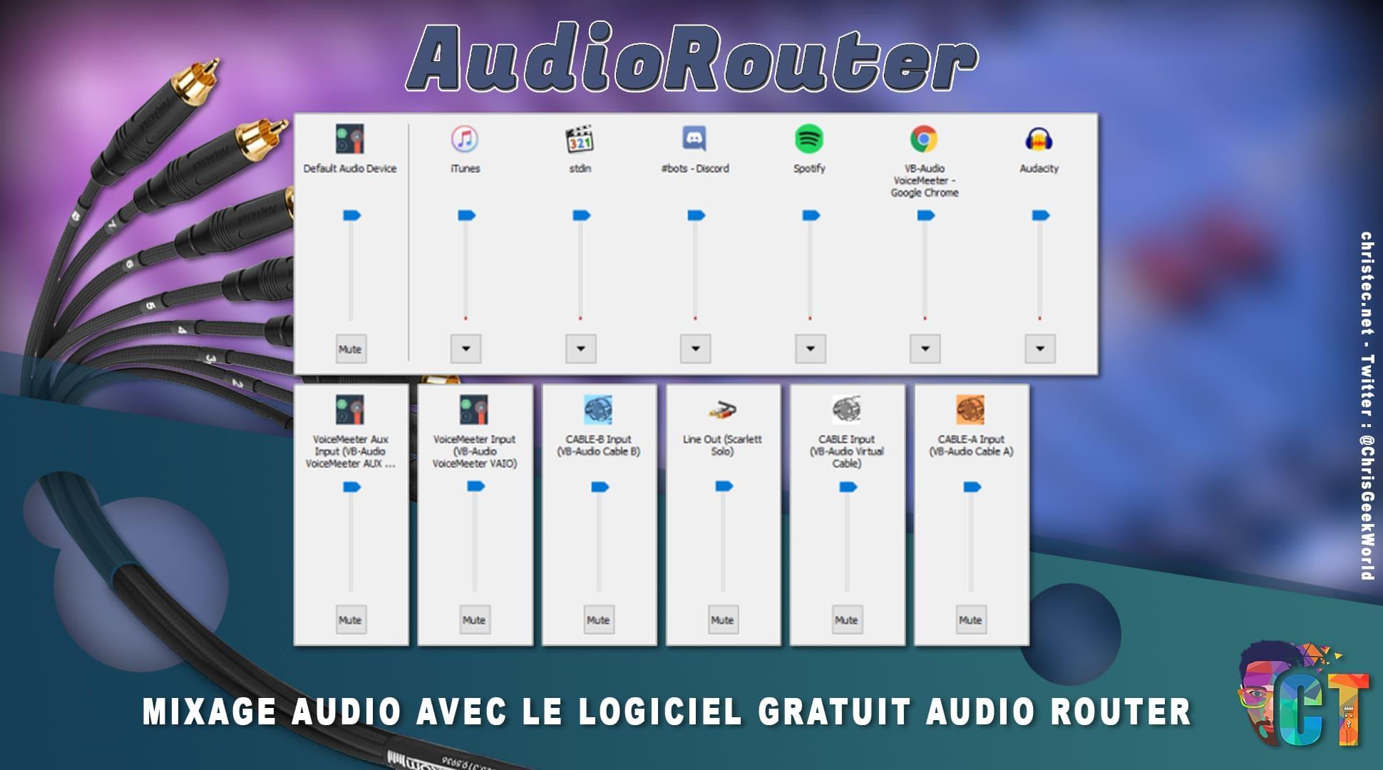 mixage audio avec le logiciel gratuit audio router parfait pour le streaming. Black Bedroom Furniture Sets. Home Design Ideas