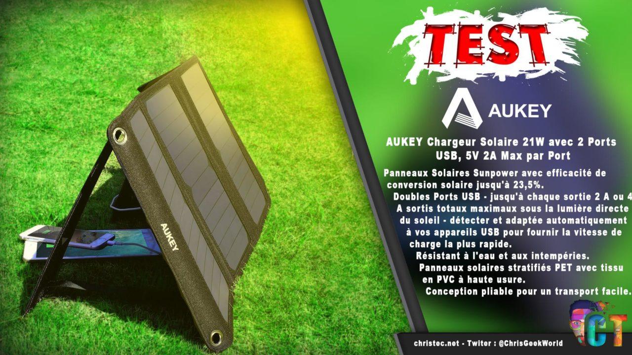 Test du chargeur solaire de 21W avec 2 ports USB de chez Aukey pour smartphones