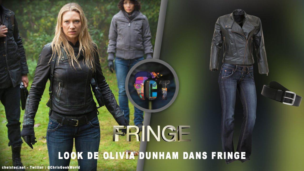 Look de Olivia Dunham dans la série Fringe (Veste en cuir, Jeans, Ceinture)