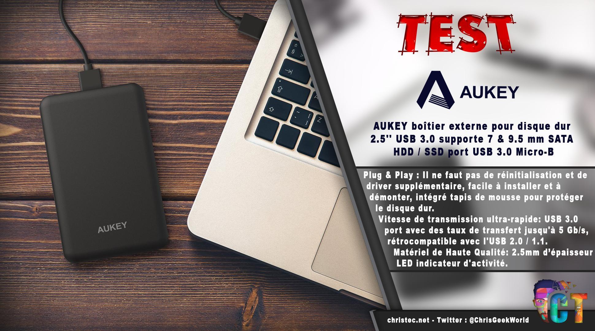 image en-tête test du boîtier USB3 Aukey pour disque dur