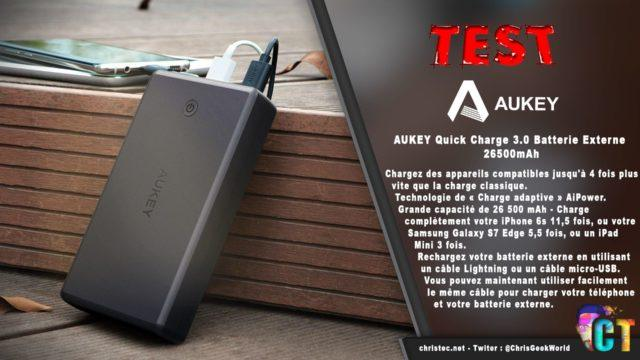 Test de la batterie externe 26500mAh Aukey, avec 2 ports USB et entrée lightning