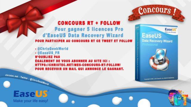 Concours Twitter pour gagner 5 licence PRO pour EaseUS Data Recovery Wizard