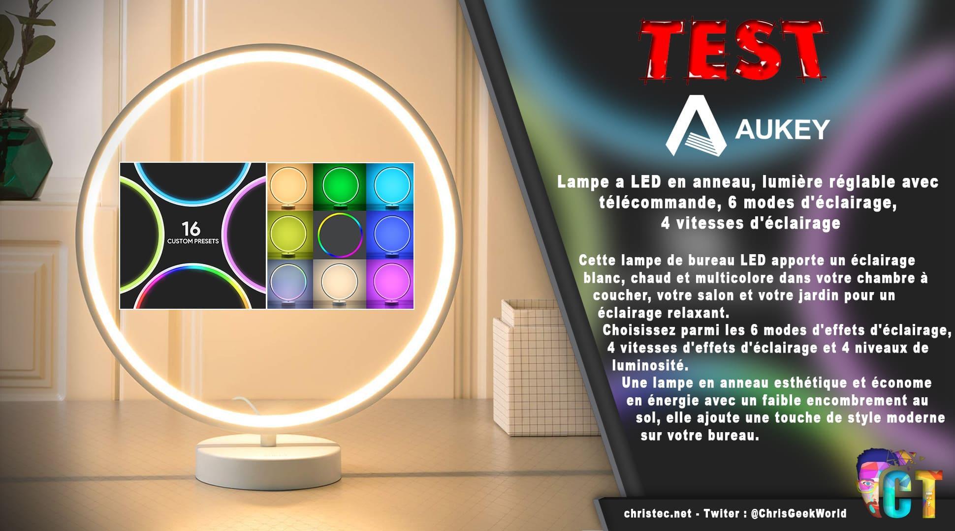 image en-tête Test de la lampe à LED multicolore en anneau d'Aukey
