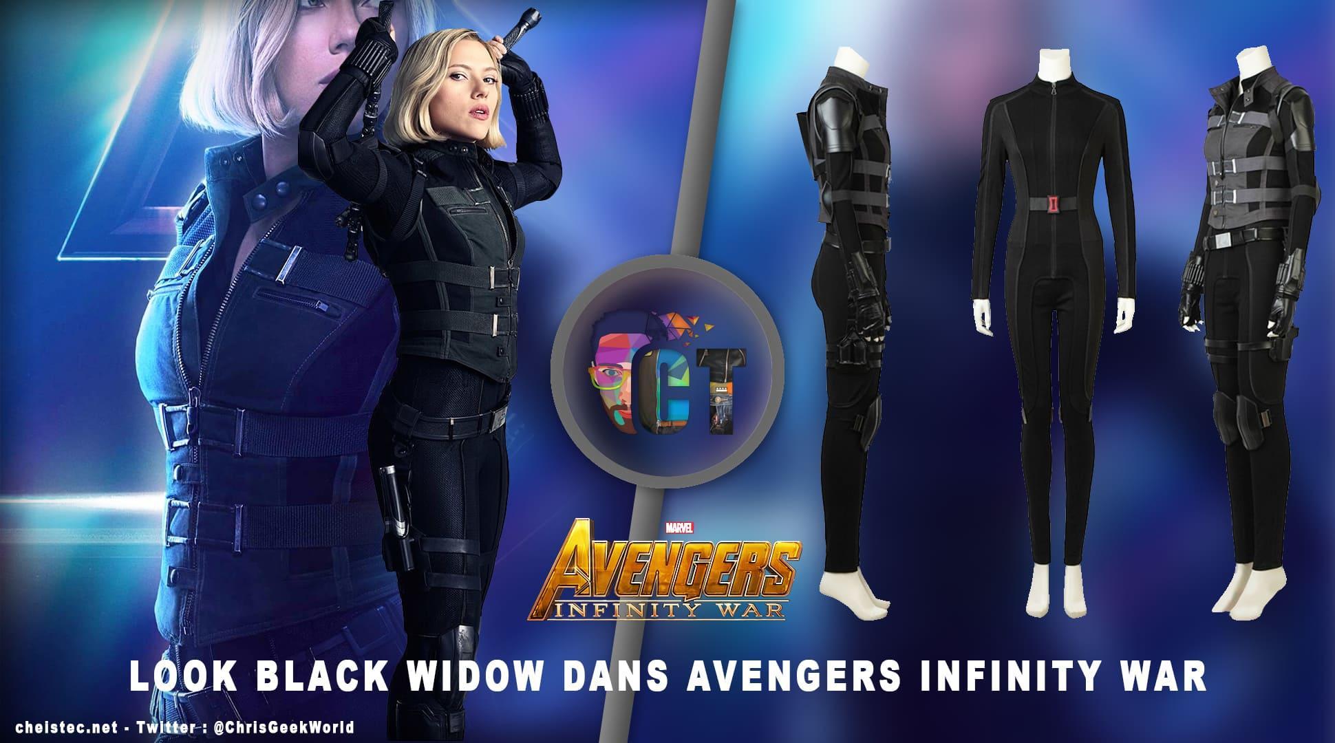 """image en-tête Look de """"Black Widow"""" Natasha Romanoff dans Avengers Infinity War (Combinaison et Veste)"""