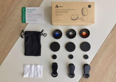 image Test du kit de 3 lentilles Aukey à filtre dégradé gris, bleu, et orange pour smartphone 2