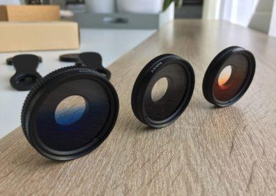 image Test du kit de 3 lentilles Aukey à filtre dégradé gris, bleu, et orange pour smartphone 3