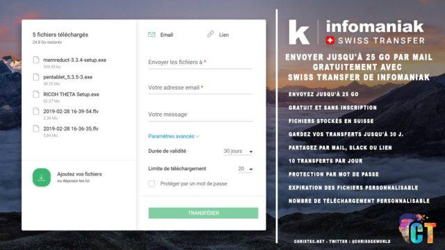 Envoyer jusqu'à 25 Go par mail gratuitement avec Swiss Transfer de Infomaniak